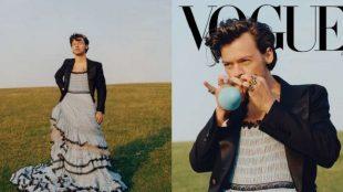 Harry Styles usa vestido em ensaio para Vogue e ''quebra'' a web