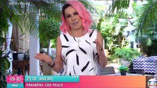 Ana Maria Braga recebe elogios ao aparecer de cabelo rosa