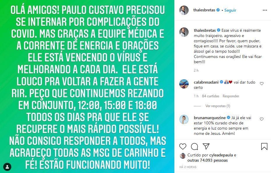 Marido de Paulo Gustavo fala sobre o estado de saúde do humorista